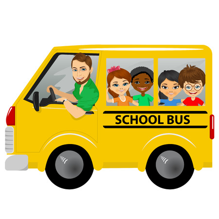 schoolbus: Illustration of multiracial school kids riding a schoolbus isolated on white background