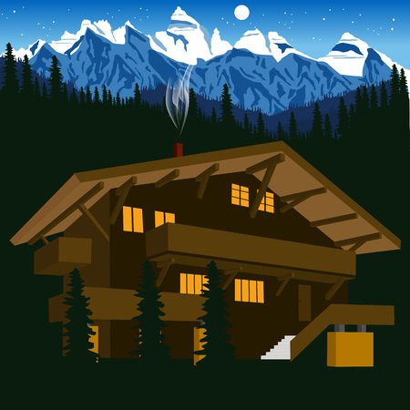 illustration of wooden chalet in mountain alps at night