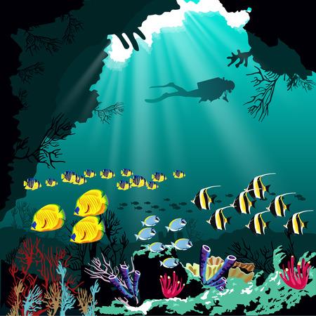 Underwater tropic life concept. Coral reef with various species of fish and silhouette of diver over blue sea background.