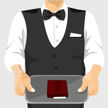 waiter tray: cropped illustration of waiter holding a tray with a check on it Illustration