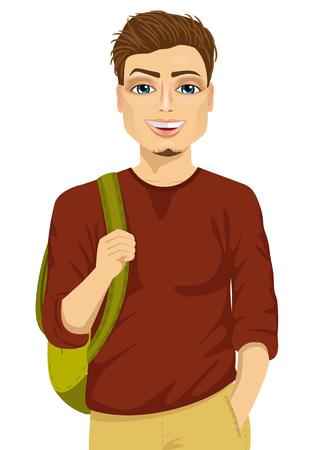 Estudiante masculino sonriente con una mochila contra el fondo blanco Ilustración de vector