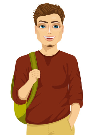 sweaty: Smiling male student with a backpack against white background