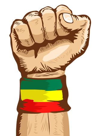 illustratie van een vuist dragen van een vlag van Ethiopië WRISTBAND gebalde strak