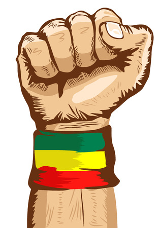 illustration of a fist wearing a flag of Ethiopia wristband clenched tight Ilustração
