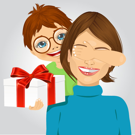hands behind back: little boy standing behind mother covering her eyes with his hand while giving a present Illustration