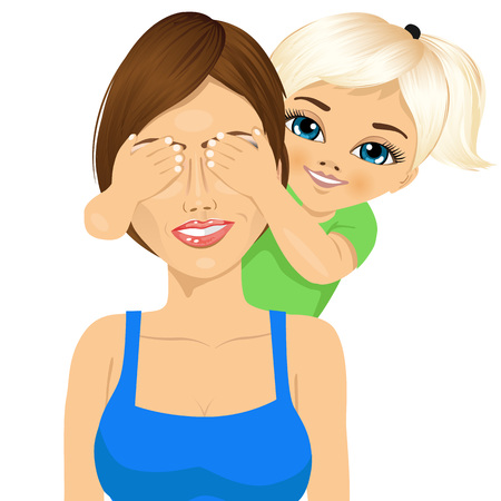 hands covering eyes: portrait of little daughter covering her happy mother eyes with her hands smiling Illustration