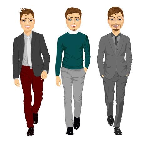 full length portrait: Full length portrait of young men walking forward isolated on white background