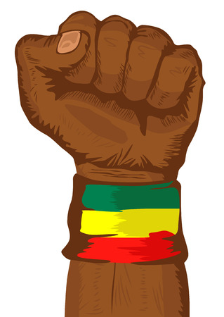 illustration of a fist wearing a flag of Ethiopia wristband clenched tight Illustration