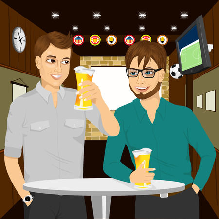 two men talking: Sharing beer with good friend. Two cheerful young men talking to each other and gesturing while drinking beer at round table