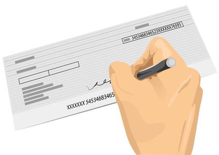 chequera: Primer plano de la mano que sostiene una pluma de firmar un cheque en blanco