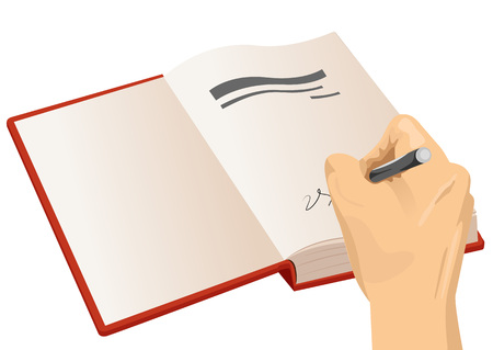 close-up illustration of hand signing the first page of a hardcover