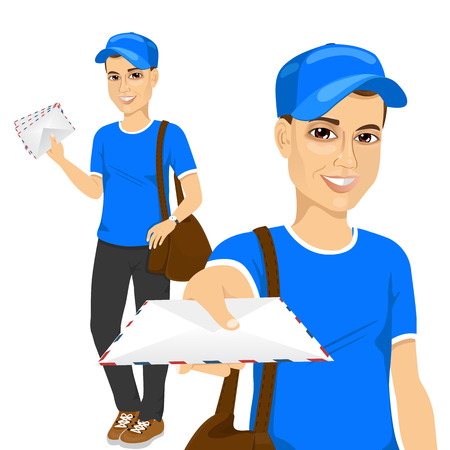 portrait of handsome young post man in blue uniform delivering mail with brown leather bag Ilustração