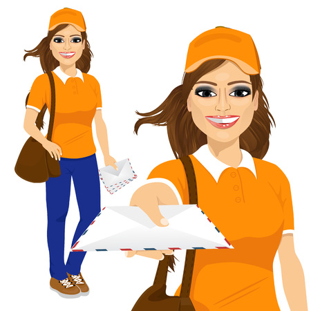 brown leather: portrait of hispanic post woman in orange shirt uniform delivering mail with brown leather bag Illustration
