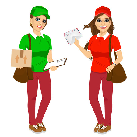 delivering: portrait of two attractive post women in uniform with brown leather bag delivering mail and delivery cardboard