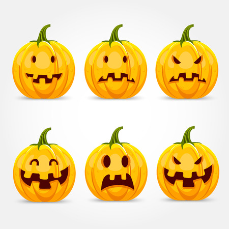 making face: illustration of halloween pumpkin making six different funny face expressions Illustration