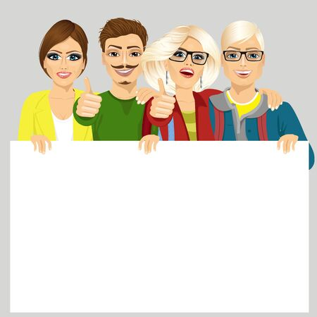 four friends: four happy joyful friends displaying white placard for your text isolated on white background