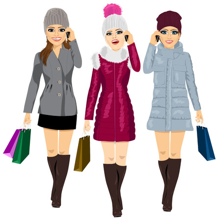 full length portrait of three young fashion women with shopping bags in winter clothes talking on the phone and walking forward Illustration
