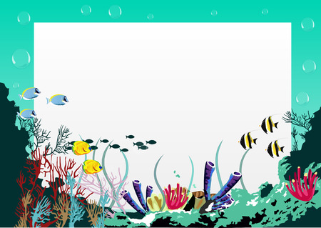 Illustration of a blank board with blue sea underwater background