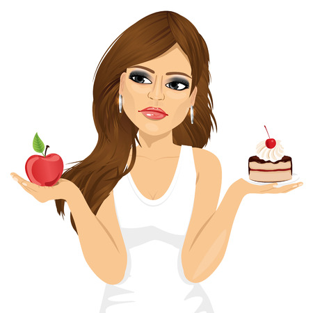 to decide: portrait of doubtful woman holding an apple and dessert trying to decide which one to eat