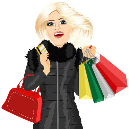 woman holding card: portrait of blonde woman in a black winter coat holding multicolored shopping bags, red handbag and her credit card Illustration
