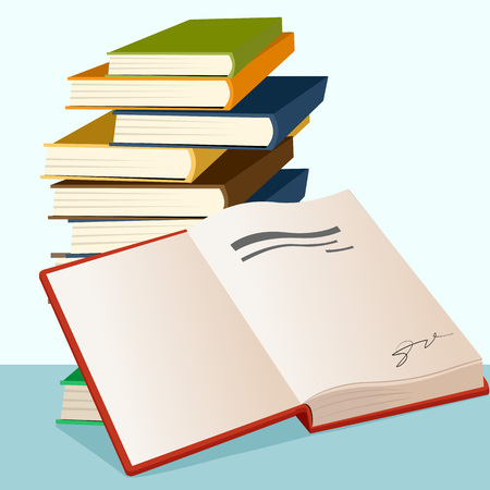 opened book: illustration of opened book lying near stack of books