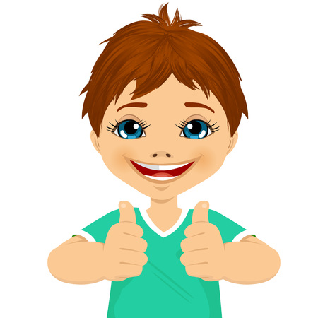 two thumbs up: little boy showing two thumbs up isolated over white background