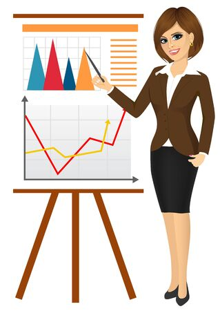 business leader: business woman making a presentation against graphics on flip chart isolated over white background