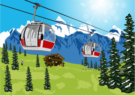 chalet: illustration of wonderful summer scenery with ski lift cable booth or car and chalet