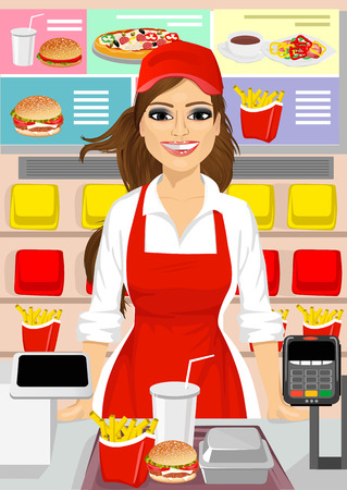 portrait of female cashier at fast food restaurant