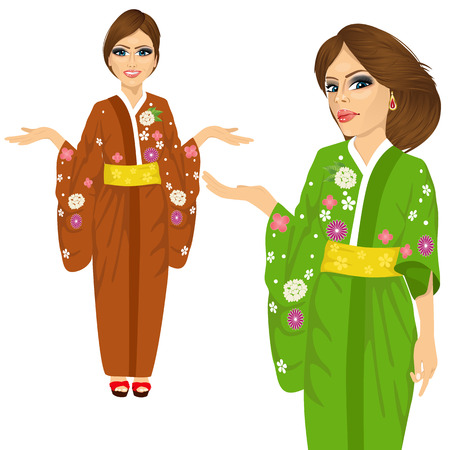 japanese woman: portrait of attractive japanese woman wearing kimono with flowers pointing and holding something isolated over white background