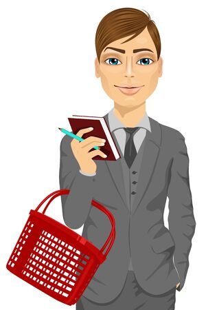 illustration of business man holding an empty shopping basket in supermarket