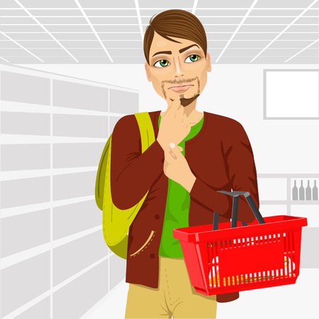 food basket: Thoughtful young unshaved man holding an empty shopping basket  in supermarket Illustration