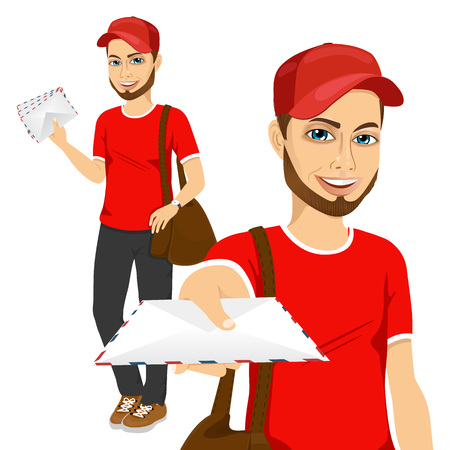 portrait of young hipster post man in blue red uniform delivering mail with brown leather bag Illustration