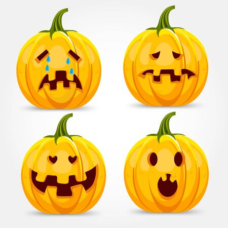 making a face: illustration of halloween pumpkin making four different funny face expressions