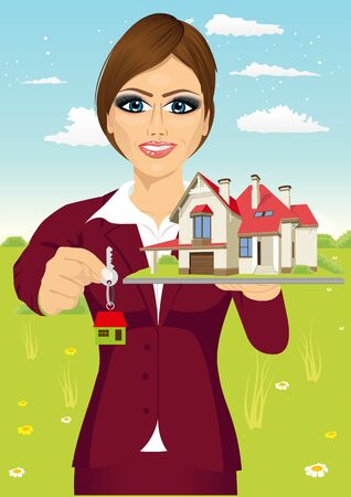 real estate house: portrait of female real estate agent holding the key of a new house