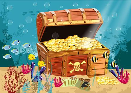 landschap: illustratie van de onderwater landschap met een open piraten schatkist