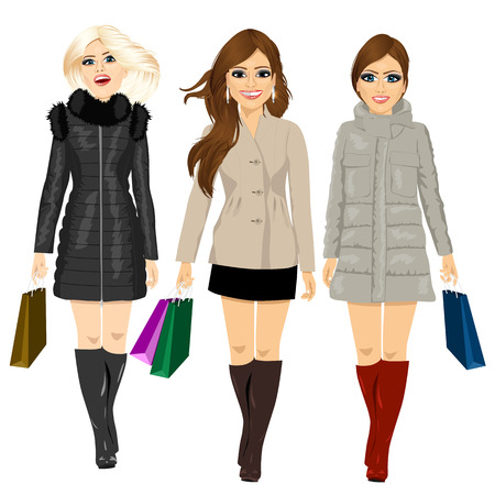 three beautiful young fashion women in autumn clothes walking forward holding shopping bags Vector Illustration