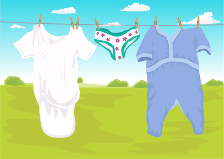 dry grass: Illustration of clothes drying outdoor in the garden