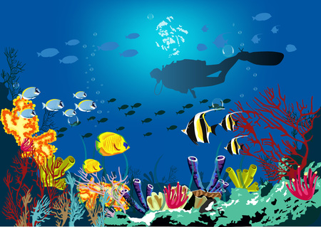 colony: Underwater tropic life concept. Coral reef with various species of fish and silhouette of diver over blue sea background.