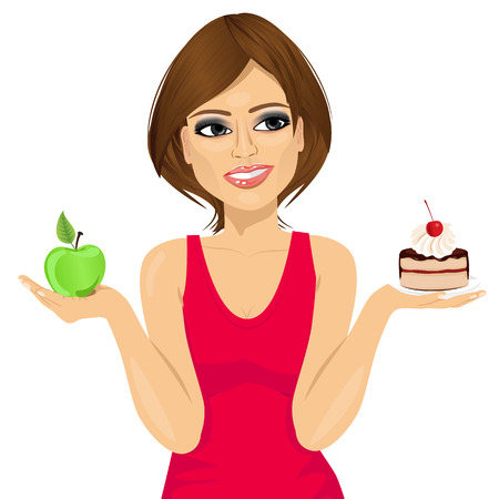 woman eating: closeup portrait of attractive woman choosing between green apple or sweet piece of cake. Diet concept