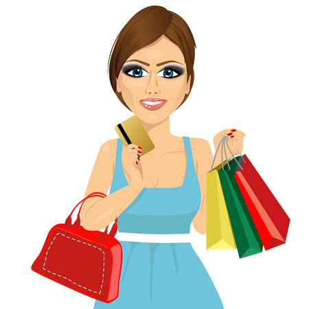 woman credit card: portrait of young woman with shopping bags, handbag and credit card on a white background