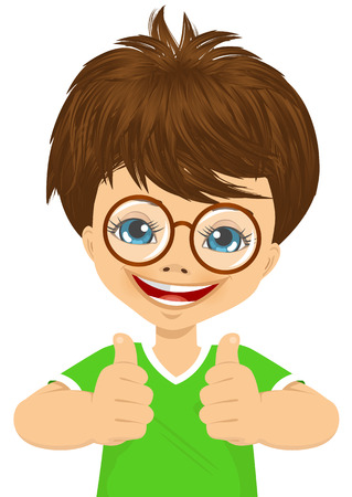 two thumbs up: little boy with glasses showing two thumbs up isolated over white background