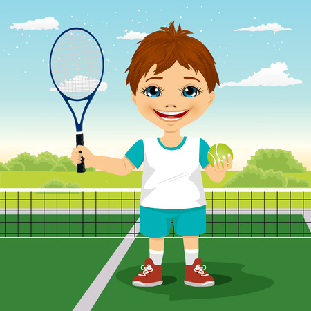 caucasians: portrait of young boy with racket and ball on tennis court smiling