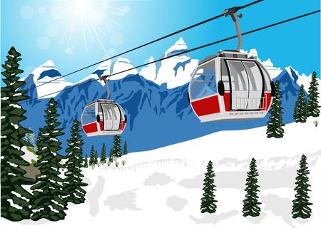 ilustración de un maravilloso paisaje de invierno con la cabina cable de la elevación de esquí o en coche