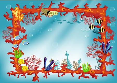 Bordure de corail avec des poissons multicolores. Illustration pour les enfants