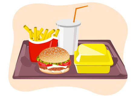 snacks: illustration of common fast food snacks on tray