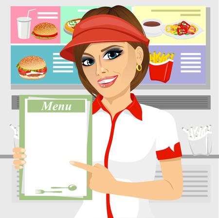 portret van vrouwelijke fast food restaurant werknemer die een menu Stock Illustratie