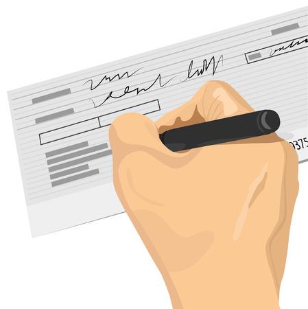 cheque en blanco: Primer plano de la mano que sostiene una pluma de firmar un cheque en blanco