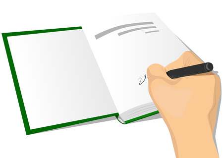 hardcover: close-up illustration of hand signing the first page of a hardcover