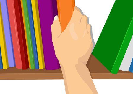 illustratie van een hand die een boek uit de kast Vector Illustratie